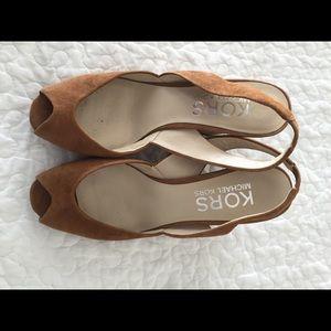 Michael Kors Shoes - Michael Kors peep toe wedge heels